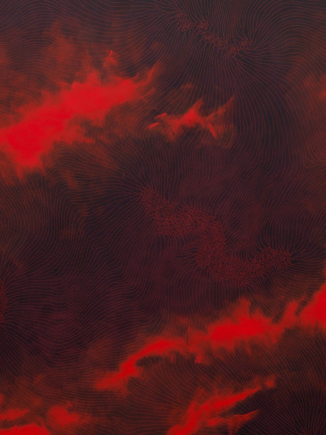 Shirazeh Houshiary. Genesis, 2016 (detail). Pigment and pencil on black aquacryl on aluminium, 74 3/4 x 212 5/8 in (190 x 540 cm). © Shirazeh Houshiary; Courtesy Lisson Gallery.