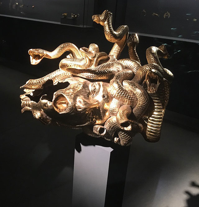 Damien Hirst, The Severed Head of Medusa. Gold and silver, 32 x 39.7 x 39.7 cm. Photograph: Joe Lloyd.