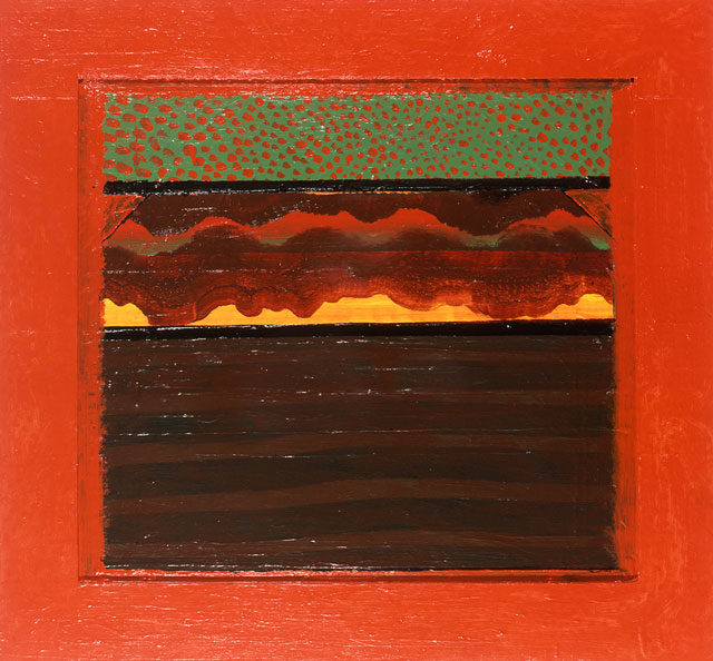 Howard Hodgkin. Bombay Sunset, 1972–73. Oil on wood, 44.5 x 98 cm. © Howard Hodgkin. Courtesy the artist and Gagosian.