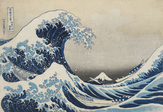 Under the wave off Kanagawa (The Great Wave) from Thirty-six views of Mt Fuji. Colour woodblock, 1831. Acquisition supported by the Art Fund. © The Trustees of the British Museum.