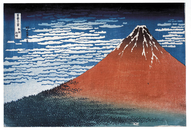 Clear day with a southern breeze ('Red Fuji') from Thirty-six Views of Mt Fuji. Colour woodblock, 1831. © The Trustees of the British Museum.