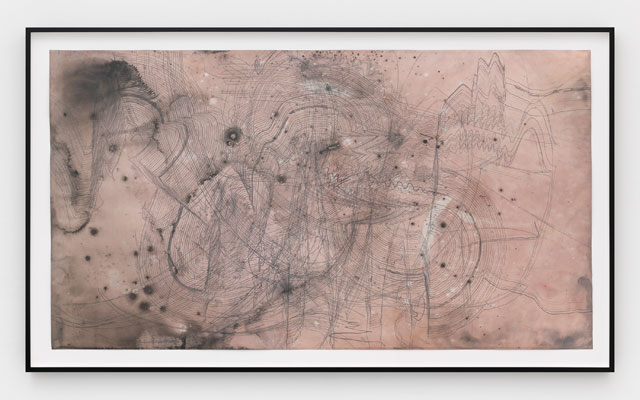 Jay Heikes. The Next Kurt Cobain, 2015. Pencil, dye and ink on paper, framed 50 1/4 x 85 3/4 in (127.6 x 217.8 cm). Courtesy of the artist and Marianne Boesky Gallery, New York and Aspen. © Jay Heikes. Photograph: Jason Wyche.