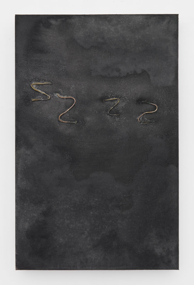 Jay Heikes. Zs, 2016. Salt, steel wire, ink, canvas, foam, wood,