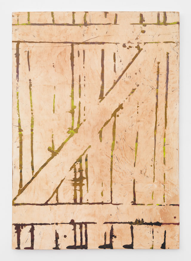 Jay Heikes. Zs, 2017. Paper, dry pigment, oil paint, paper, glue, wood,