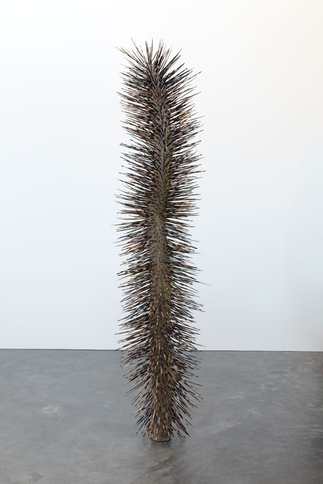 Jay Heikes. Ickly, 2010. Dyed porcupine quills and wood, 57 x 14 x 15 in (144.8 x 35.6 x 38.1 cm). Courtesy of the artist and Marianne Boesky Gallery, New York and Aspen. © Jay Heikes. Photograph: Jason Wyche.