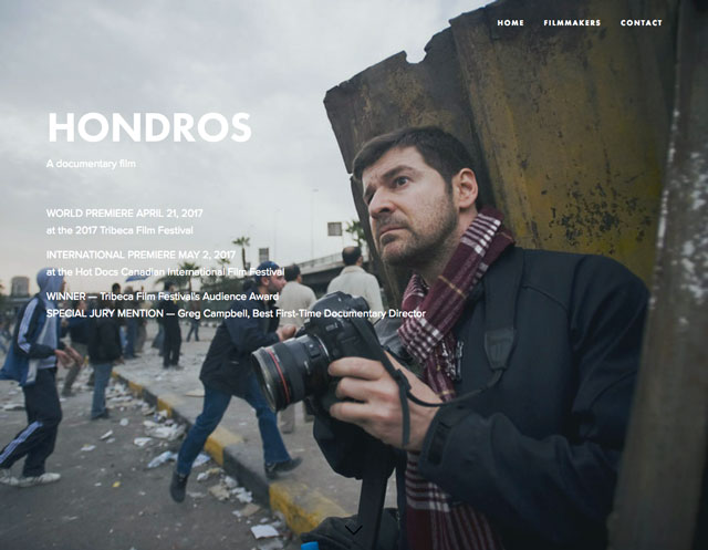 Screenshot of Hondros film website, 2017. www.chrishondrosfilm.com