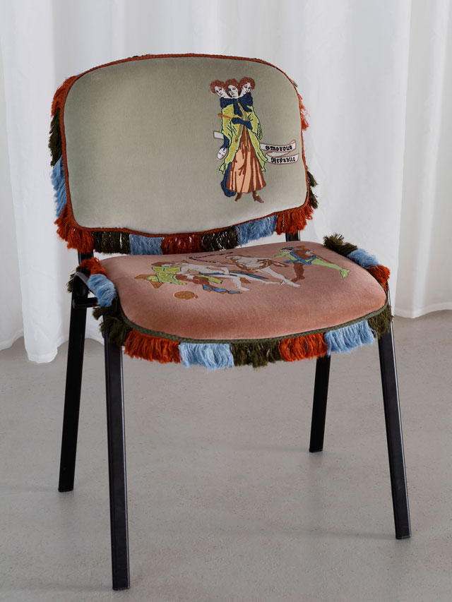 Georgia Horgan. All Whores are Jacobites, CAD embroidered cotton velvet, lecture chair, linenmix trim, dimensions variable, 2017. Photograph: Ollie Hammick.