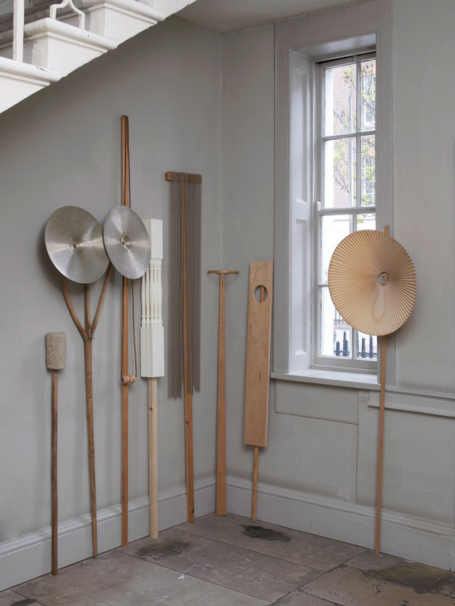 Nicky Hirst. Into The Woods, 2010-2017. An assortment of placards, found objects on sticks, left to right: Translation (2010), Nocturne (2010), Flail (2011), Spindles (2017), Standard (2010), Halo (2011), Aperture (2016), Frill (2015). Courtesy the artist and Domobaal. Photograph: Andy Keate.