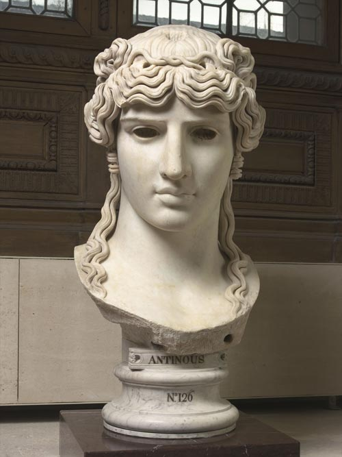 Colossal head of Antinous ('Mondragone Head') from a Roman villa near Frascati, c. AD 130–138. On loan from the Musée du Louvre, Paris. © Photo RMN / Hervé Lewandowski.