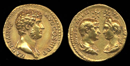 Coin with portrait of young Hadrian (facing bust of Trajan and Plotina on the reverse), after AD 128. © The Trustees of the British Museum.
