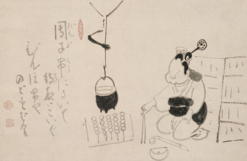 <p>Hakuin Ekaku, <em>Otafuku Making Dango</em>. Ink on paper, 21.5 x 14.1 inches. Shinwa-an Collection.
