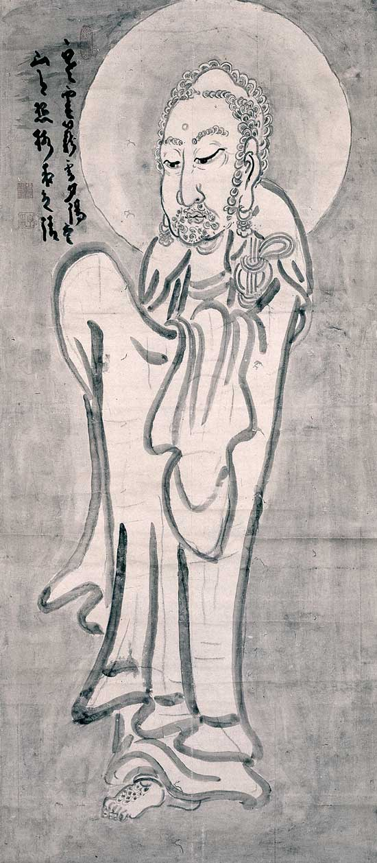 <p>Hakuin Ekaku, <em>Shaka</em>. Ink on paper, 52.6 x 23.5 inches. Shinwa-an Collection.