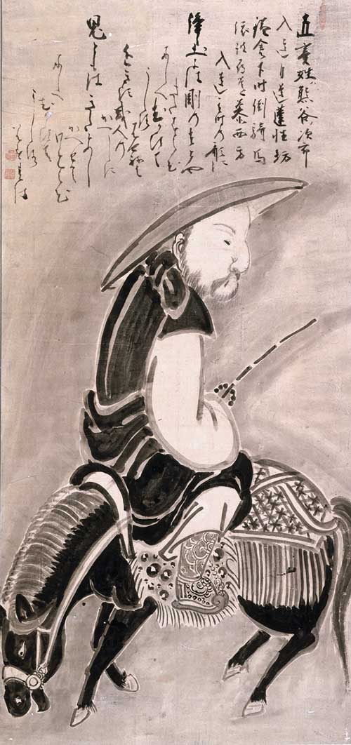 <p>Hakuin Ekaku, <em>Renshobo on Horseback. </em>Ink on paper, 46.5 x 22 inches. Man&rsquo;yo-an Collection.