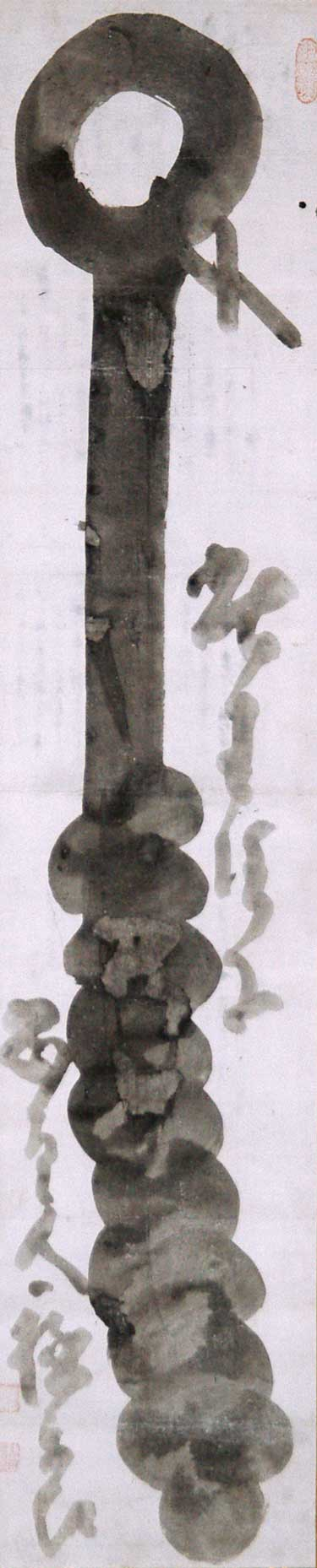 <p>Hakuin Ekaku, <em>Iron Rod</em>. Ink on paper, 51 x 10.7 inches. Ginshu Collection. Photo: Maggie Nimkin.