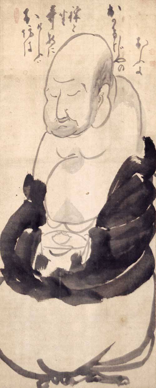 <p>Hakuin Ekaku, <em>Hotei Meditating</em>. Ink on paper, 48.7 x 19.8 inches. Ginshu Collection. Photo: Maggie Nimkin.
