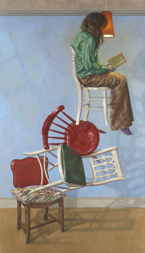Roxana Halls. A Little Light Reading, 2012. Oil on linen, 140 x 80 cm. © the artist.
