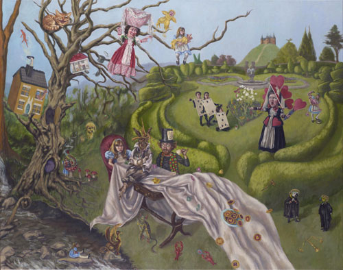 Roxana Halls. A Mad Tea Party & The Queen's Croquet-Ground, 2013. Oil on linen, 95 x 120 cm. © the artist.