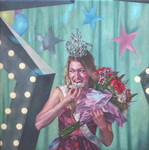 Roxana Halls. Beauty Queen, 2014. Oil on linen, 90 x 90 cm. © the artist.