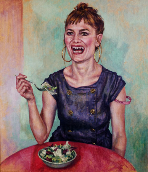 Roxana Halls. Laughing While Eating Salad, 2013. Oil on linen, 70 x 60 cm. © the artist.