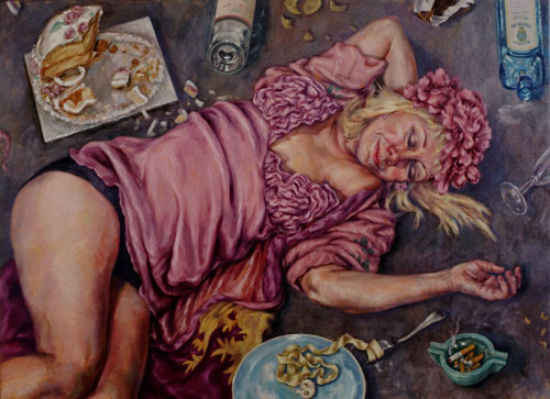 Roxana Halls. Midnight Snacks, 2014. Oil on linen, 80 x 110 cm. © the artist.