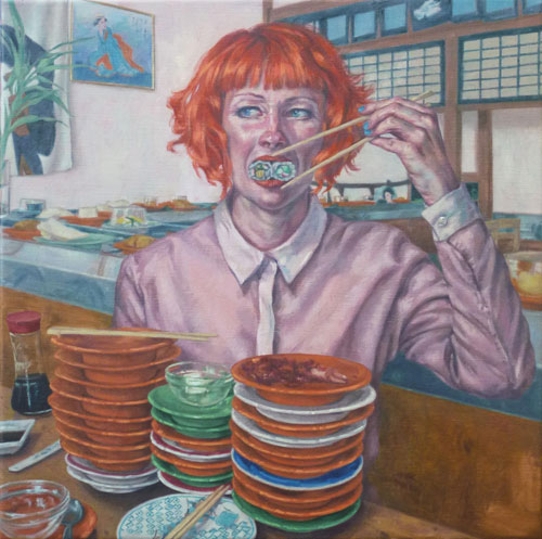 Roxana Halls. Sushi, 2014. Oil on linen, 75 x 75 cm. © the artist.