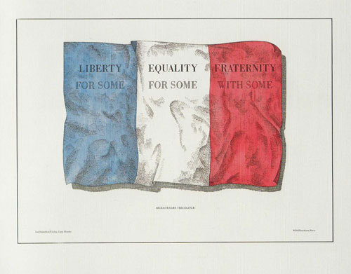 Ian Hamilton Finlay with Gary Hincks. Bicentenary Tricolour. Screen print.