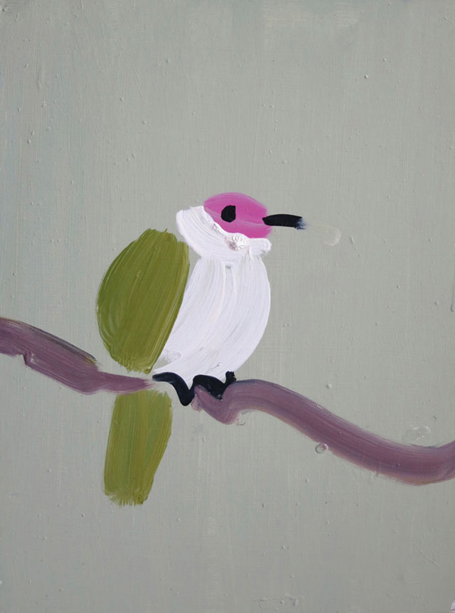 Susie Hamilton. Beautiful Fruit Dove, 2013. Acrylic on board, 40 x 30 cm. © the artist. Courtesy of Paul Stolper, London.