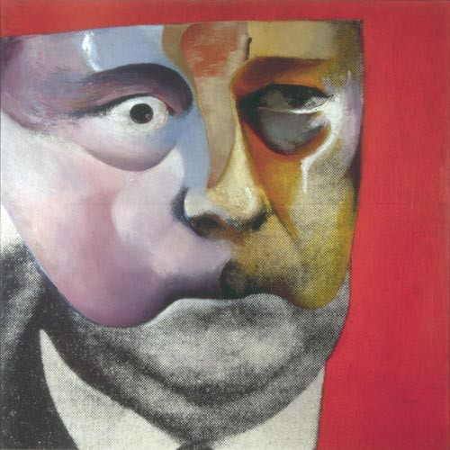 Richard Hamilton, <em>Portrait of Hugh Gaitskell as a Famous Monster of Filmland</em>, 1964. Oil and collage on photograph on panel 61 x 61 cm © Richard Hamilton