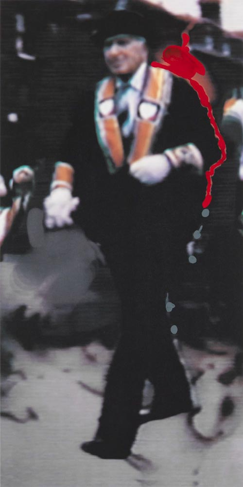 Richard Hamilton, <em>The Orangeman</em>, 1990. Offset lithograph in 5 colours, with hand-applied Humbrol enamel (ed. 105) 85 x 42.5 cm (image); 100 x 70 cm (sheet) &copy; Richard Hamilton