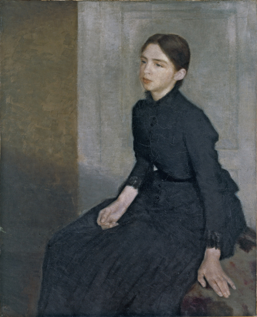 Vilhelm Hammershøi. <em>Portrait of a Young Woman</em>. The Artist's Sister Anna Hammershoi, 1885. 