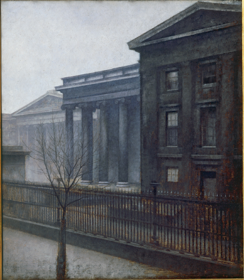 Vilhelm Hammershøi. <em>From the British Museum</em>. Winter, 1906. Oil on canvas, 51.9 x 45.3 cm. Fuglsang Kunstmuseum, Denmark. 