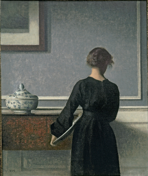 Vilhelm Hammershøi. <em>Interior. Young Woman seen from Behind</em>, 1903-04. Oil on canvas, 61 x 50.5 cm. Randers Kunstmuseum. Photo Niels Erik Hybye