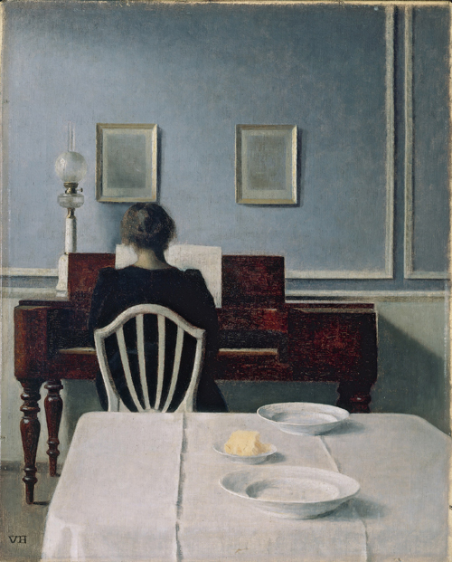 Vilhelm Hammershøi.<em> Interior with Woman at Piano, Strandgade 30</em>, 1901. Oil on canvas, 55.9 x 45.1 cm. Private collection. Photo Maurice Aeschimann