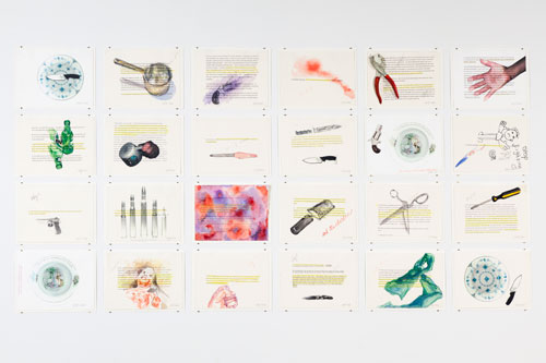 Margaret Harrison. Beautiful Ugly Violence, 2004. 24 watercolours on paper, 8 1/2 x 11 in each. Photograph: Casey Dorobek, courtesy of Ronald Feldman Fine Arts, New York.