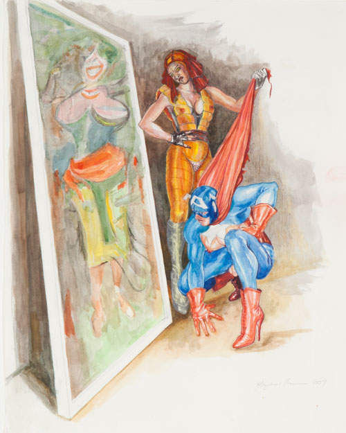 Margaret Harrison. What's That Long Red Limp Wrinkly Thing You're Pulling On?, 2009. Coloured pencil and watercolour on paper., 23 7/8 x 18 7/8 in. Photograph: Casey Dorobek, courtesy of Ronald Feldman Fine Arts, New York.