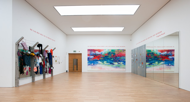 Installation view (1) of Margaret Harrison: Accumulations, Middlesbrough Institute of Modern Art, 23 October 2015 - 24 January 2016. Photograph: Jason Hynes, courtesy of Middlesbrough Institute of Modern Art.