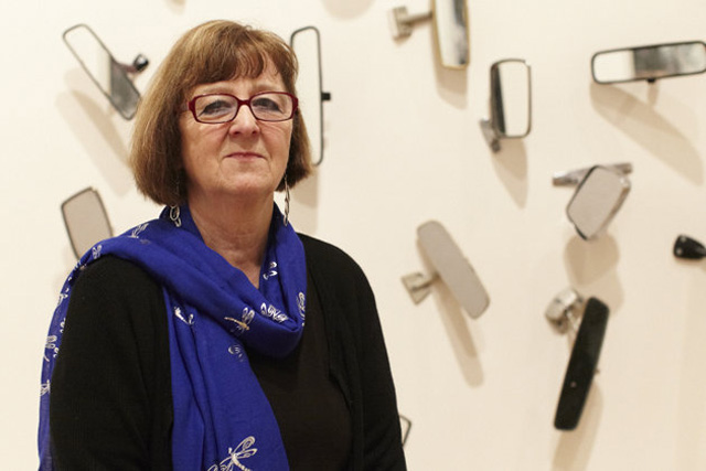 Margaret Harrison at the Northern Art Prize exhibition, Leeds, 2013. Photograph: Simon Warner, courtesy of the artist.