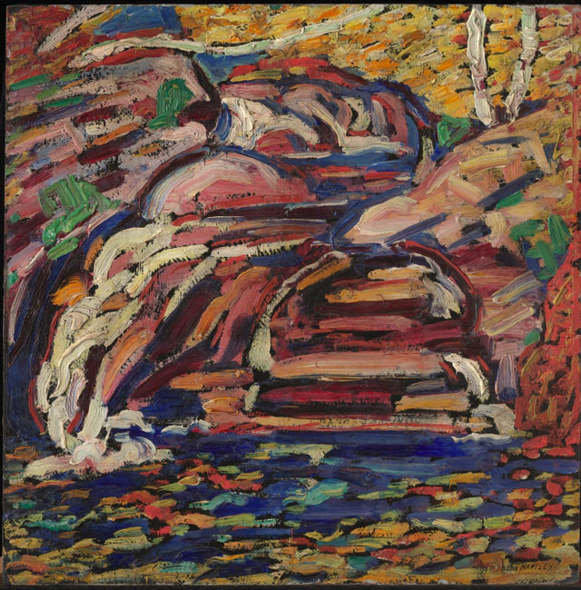 Marsden Hartley. Untitled (Maine Landscape), 1910. Oil on board, 12 1/8 x 12 in (30.8 x 30.5 cm). Collection of Jan T. and Marica Vilcek, Promised Gift to The Vilcek Foundation.