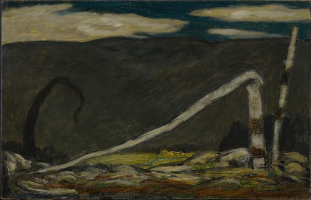 Marsden Hartley. Desertion, 1910. Oil on commercially prepared paperboard (academy board), 14 1⁄4 x 22 1/8 in (36.2 x 56.2 cm). Colby College Museum of Art, Waterville, Gift of the Alex Katz Foundation.