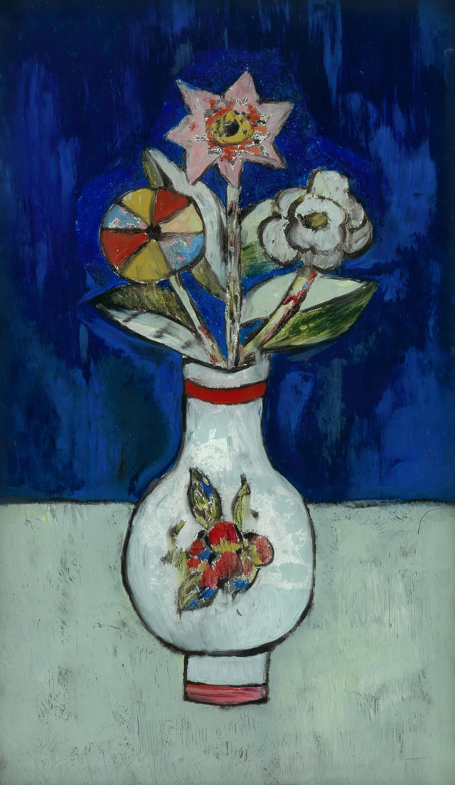 Marsden Hartley. Three Flowers in a Vase, 1917. Oil and metal leaf on glass, 13 1/8 x 7 5/8 in (33.3 x 19.4 cm). Private collection.