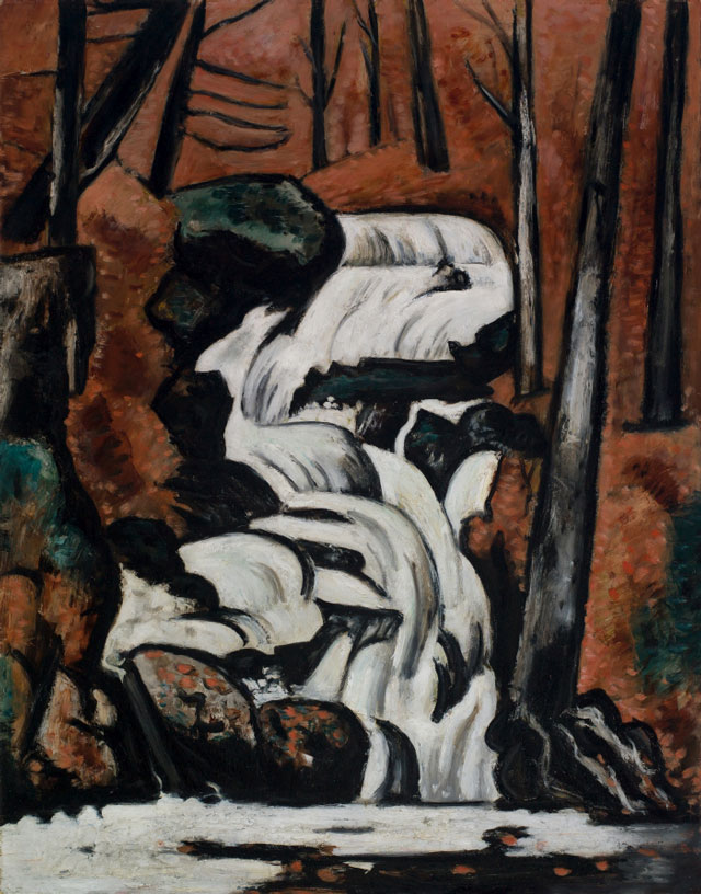 Marsden Hartley. Smelt Brook Falls, 1937. Oil on commercially prepared paperboard (academy board), 28 x 22 7/8 in (71.1 x 58.1 cm). Saint Louis Art Museum, Eliza McMillan Trust.