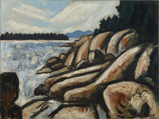Marsden Hartley. City Point, Vinalhaven, 1937–38. Oil on commercially prepared paperboard (academy board), 181/4 x 243/8 in (46.4 x 61.9 cm). Colby College Museum of Art, Waterville, Gift of the Alex Katz Foundation.