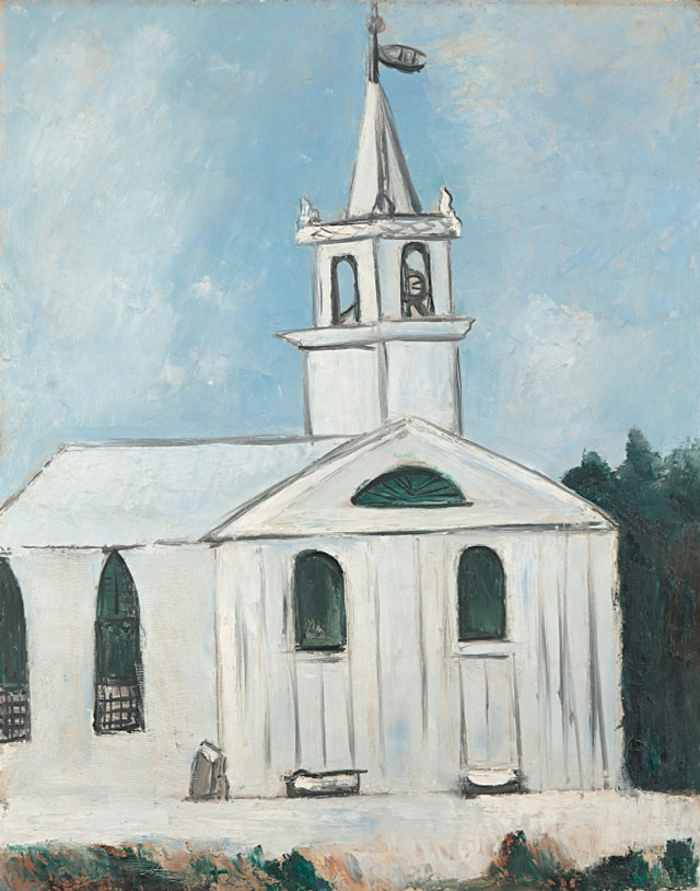 Marsden Hartley. Church at Head Tide, Maine, 1938. Oil on commercially prepared paperboard (academy board), 281/8 x 221/8 (71.4 x 56.2 cm). Colby College Museum of Art, Waterville, Bequest of Adelaide Moise.