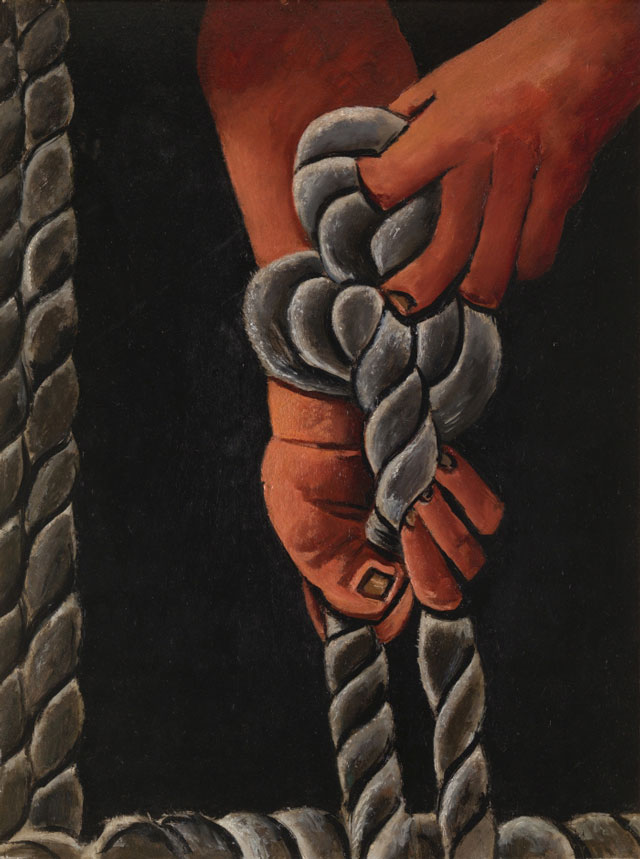Marsden Hartley. Knotting Rope, 1939–40. Oil on board, 28 x 22 in (71.1 x 55.9 cm). Private collection, New York.