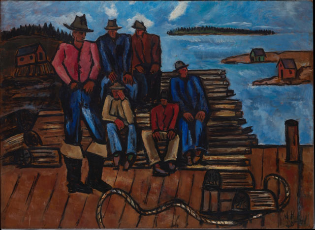 Marsden Hartley. Lobster Fishermen, 1940–41. Oil on hardboard (masonite), 29 3/4 x 40 7/8 in (75.6 x 103.8 cm). The Metropolitan Museum of Art, Arthur Hoppock Hearn Fund.