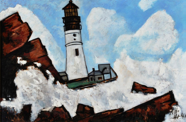 Marsden Hartley. The Lighthouse, 1940–41. Oil on masonite-type hardboard, 30 x 40 1/8 in (76.2 x 101.9 cm). Collection of Pitt and Barbara Hyde.