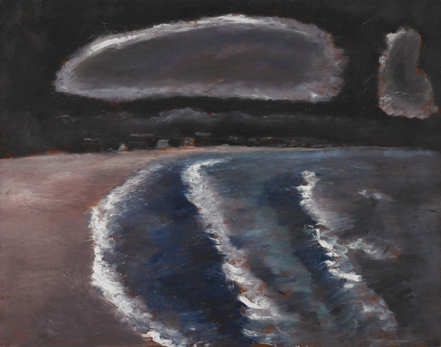 Marsden Hartley. Storm Down Pine Point Way, Old Orchard, Maine, 1941–43. Oil on hardboard (masonite), 22 x 28 in (55.9 x 71.1 cm). Crystal Bridges Museum of American Art, Bentonville, Arkansas.