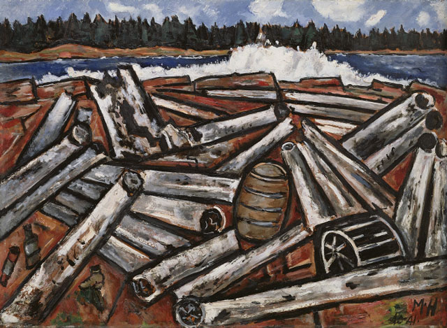 Marsden Hartley. Log Jam, Penobscot Bay, 1940–41. Oil on masonite, 30 x 40 7/8 in (76.2 x 103.8 cm). The Detroit Institute of Arts, Gift of Robert H. Tannahill.