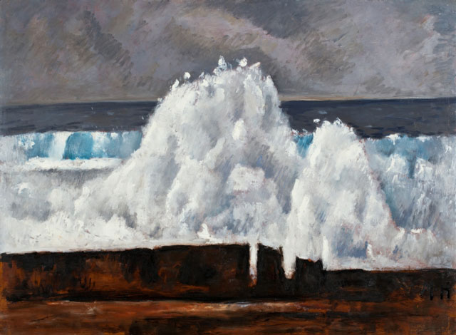 Marsden Hartley. The Wave, 1940. Oil on masonite-type hardboard, 30 1⁄4 x 40 7/8 in (76.8 x 103.8 cm). Worcester Art Museum.