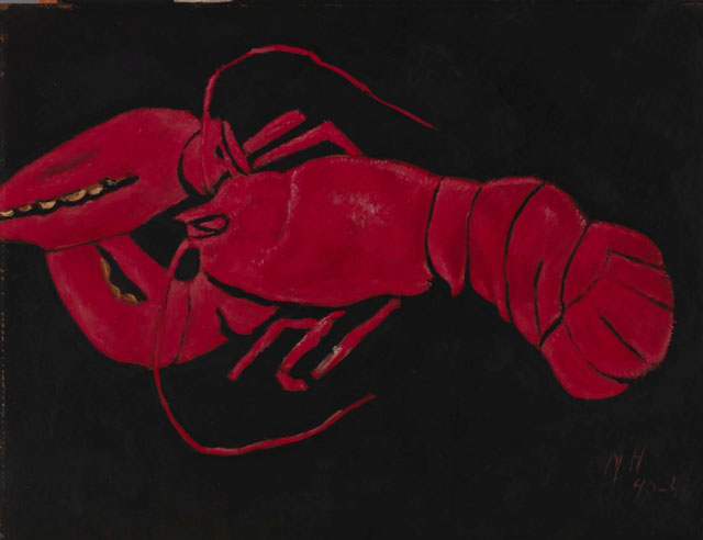 Marsden Hartley. Lobster on Black Background, 1940–41. Oil on hardboard (masonite), 22 x 28 in (55.9 x 71.1 cm). Smithsonian American Art Museum, Washington D.C.